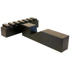 Pair of Solid Black Lucite Postmodern Table Sculptures