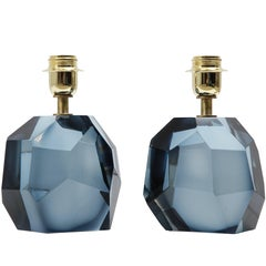 Pair of Solid Blue Gray Murano Glass Lamps in the Style of Roberto Rida, Signed
