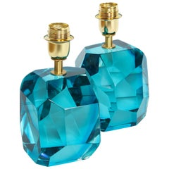 Pair of Solid Blue Topaz or Aquamarine Jewel Murano Glass Lamps, Italy