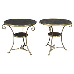 Pair of Solid Brass and Black Granite French Louis XV Style Gueridons End Tables