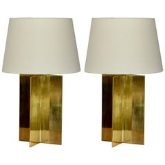 Pair of Solid Brass and Parchment Lamps