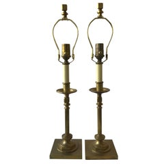 Pair of Solid Brass Candlestick Lamps by Visual Comfort