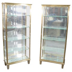 Pair of Solid Brass Directoire Style Vitrines China Display Cabinets circa 1940s