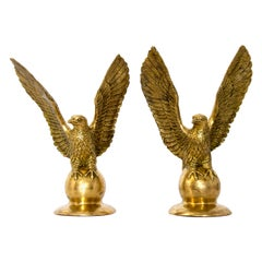 Pair of Solid Brass Eagle Statues