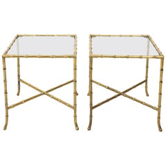 Pair of Solid Brass Faux Bamboo Side Tables Baguès Style