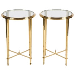 Pair of Solid Brass Gueridon Tables in the Manner of Maison Meilleur