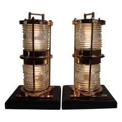 Pair of Solid Brass Maritime Pier Beacons