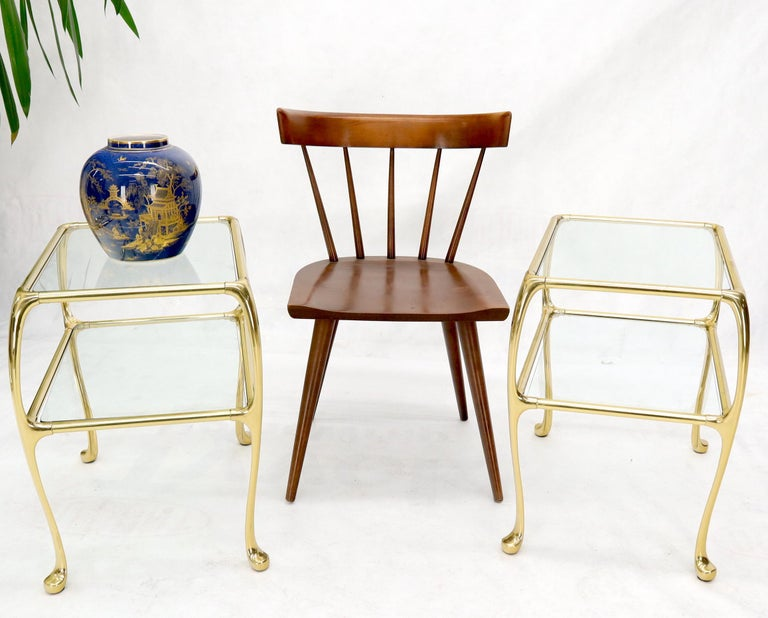 Pair of Solid Brass or Bronze Rectangular Two-Tier Glass Top Side End Tables For Sale 4