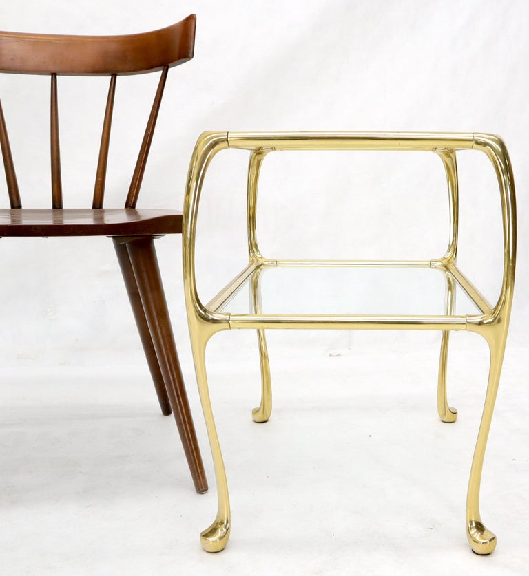 Pair of Solid Brass or Bronze Rectangular Two-Tier Glass Top Side End Tables For Sale 5