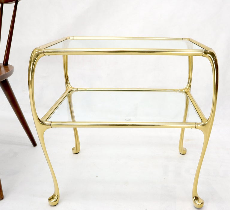 Pair of Solid Brass or Bronze Rectangular Two-Tier Glass Top Side End Tables For Sale 6