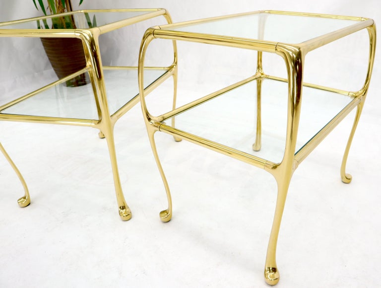 Hollywood Regency Pair of Solid Brass or Bronze Rectangular Two-Tier Glass Top Side End Tables For Sale