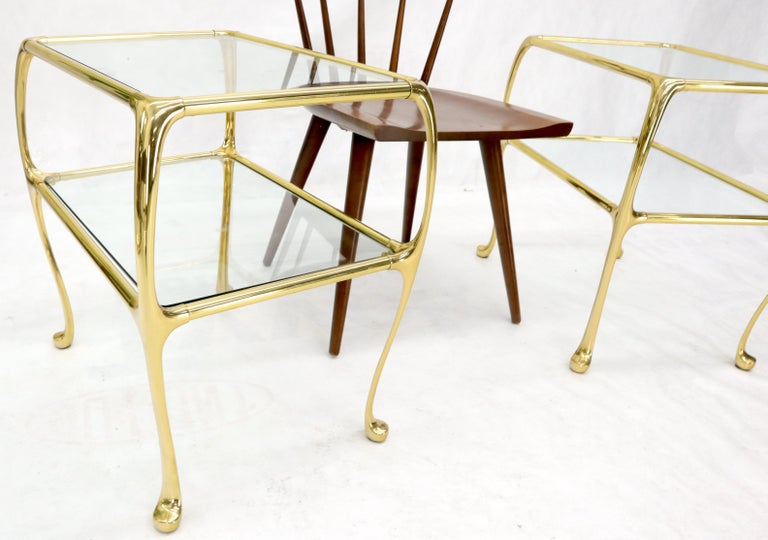 American Pair of Solid Brass or Bronze Rectangular Two-Tier Glass Top Side End Tables For Sale