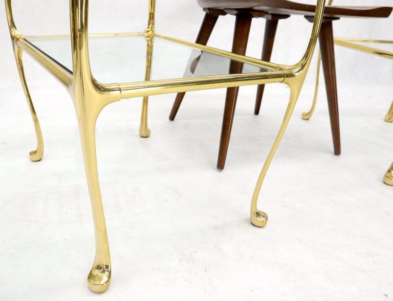 Pair of Solid Brass or Bronze Rectangular Two-Tier Glass Top Side End Tables In Good Condition For Sale In Rockaway, NJ