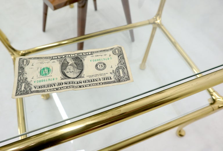 Pair of Solid Brass or Bronze Rectangular Two-Tier Glass Top Side End Tables For Sale 2