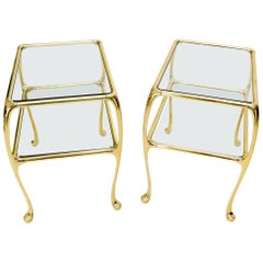 Pair of Solid Brass or Bronze Rectangular Two-Tier Glass Top Side End Tables