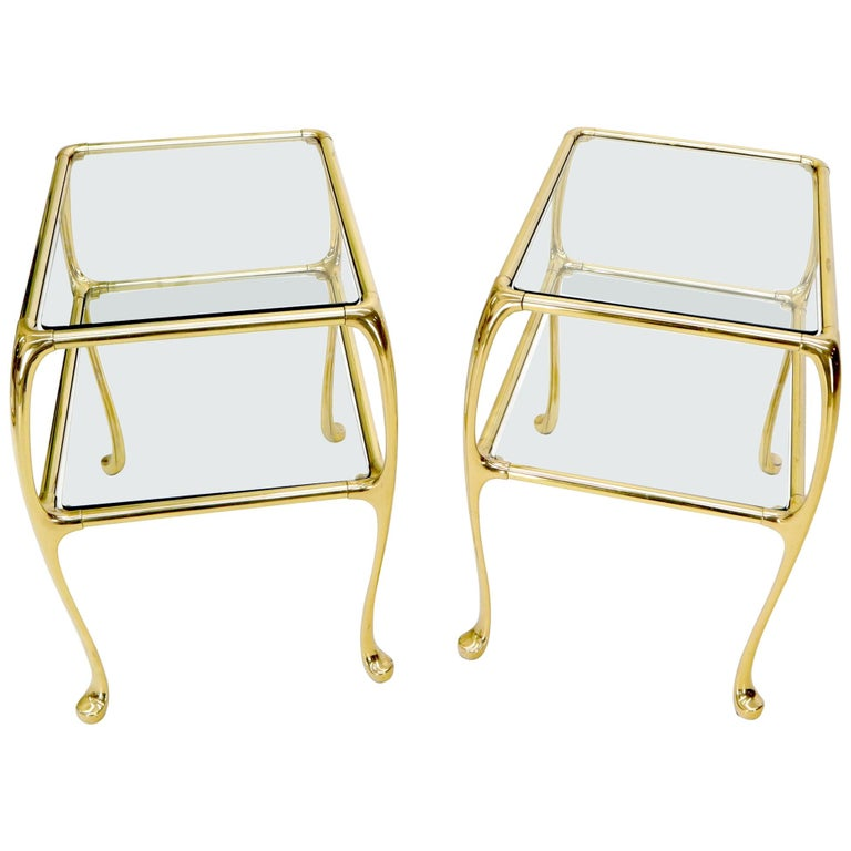 Pair of Solid Brass or Bronze Rectangular Two-Tier Glass Top Side End Tables For Sale