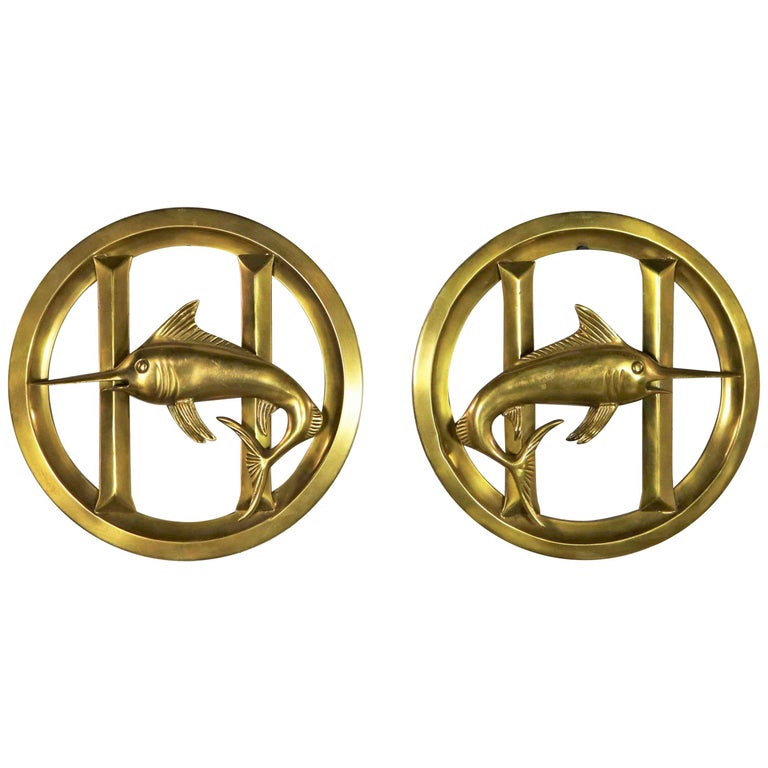 Pair of Solid Brass Porthole Cover Grills with Swordfish Design Nautical Decor For Sale