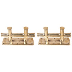 Pair of Solid Brass Ship's Double Sampson Post Cleats