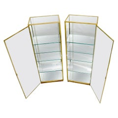 Pair of Solid Brass Studio Made Cube Shape Showcases Cabinets Shelves