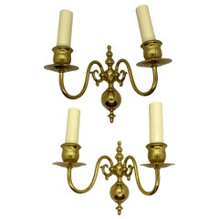 Pair of Solid Brass Two-Light Wall Sconces, Vintage, German, 1960s