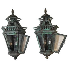 Pair of Solid Brass Wall Lanterns