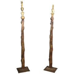 Pair of Solid Bronze and Iron Man and Woman Figurative Studio Art Floorlamps