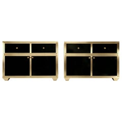 Pair of Solid Bronze and Vitreous Enamel Buffets or Bathroom Vanities