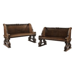 Pair of Solid Carved Oak Antique Benches Attributed to Gillows