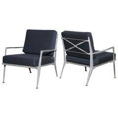 Pair of Solid Cast Aluminum Molla Indoor Outdoor Armchairs, 1950s