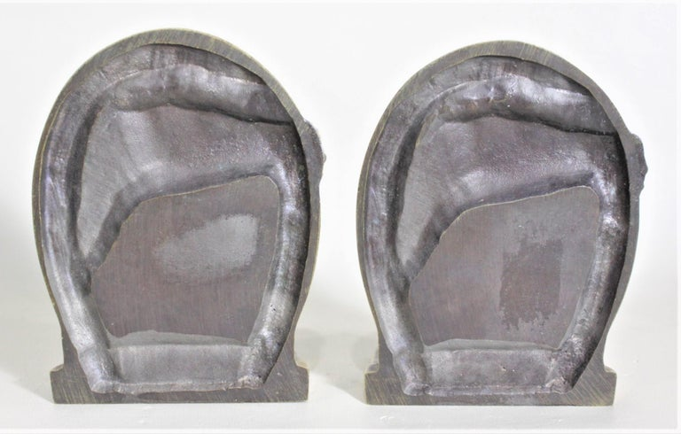 American Pair of Solid Cast Brass Mid Century Era Horse Related Bookends For Sale