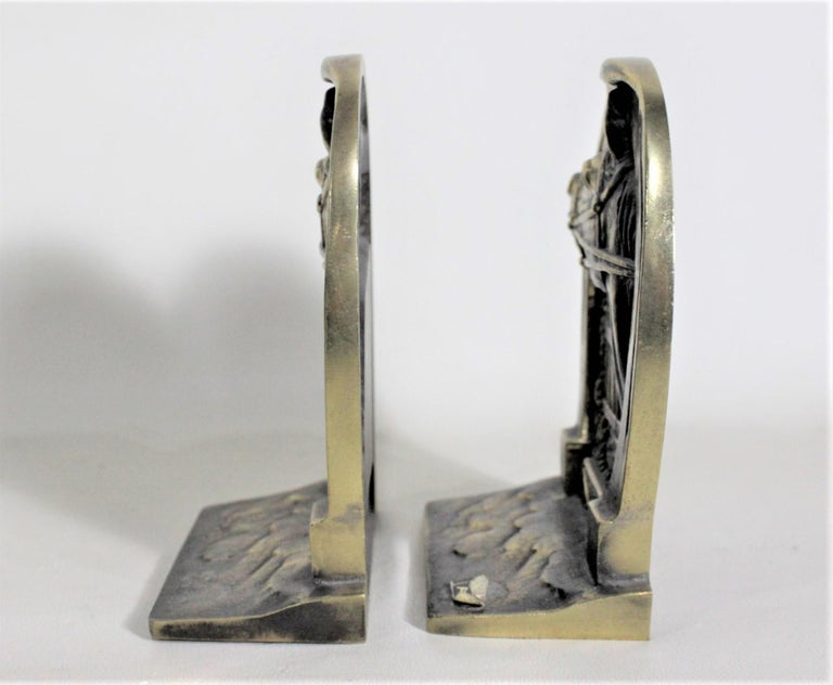 Pair of Solid Cast Brass Mid Century Era Horse Related Bookends In Good Condition For Sale In Hamilton, Ontario