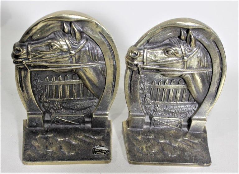 Pair of Solid Cast Brass Mid Century Era Horse Related Bookends For Sale 3