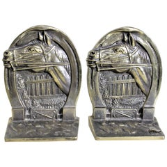 Pair of Solid Cast Brass Mid Century Era Horse Related Bookends