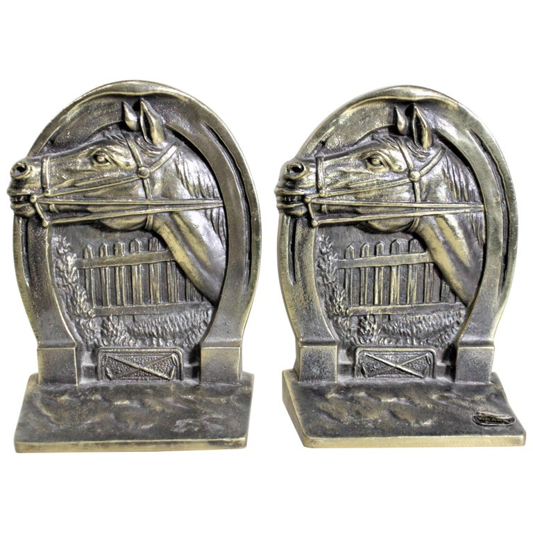 Pair of Solid Cast Brass Mid Century Era Horse Related Bookends For Sale