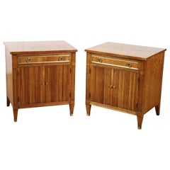 Pair of Solid Cherry Kindel Belvedere French Directoire Style Nightstands