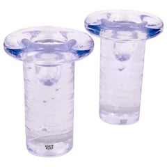 Pair of Solid Clear Glass Candleholders by Kosta Boda