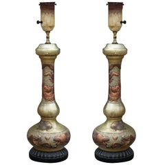 Pair of Solid Copper Asian Style Lamps with Dragon Motifs and Silver Wash