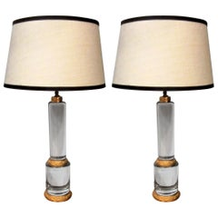 Pair of Solid Crystal Column Lamps