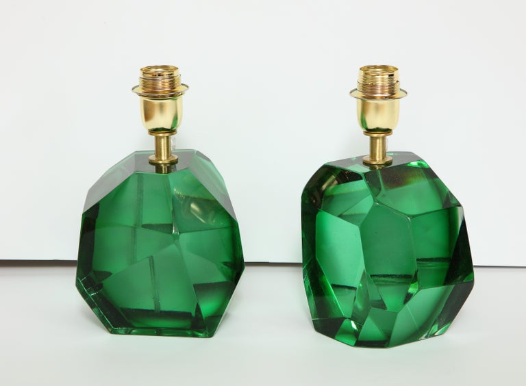Italian Pair of Solid Emerald Green Jewel Murano Glass Lamps, Italy For Sale