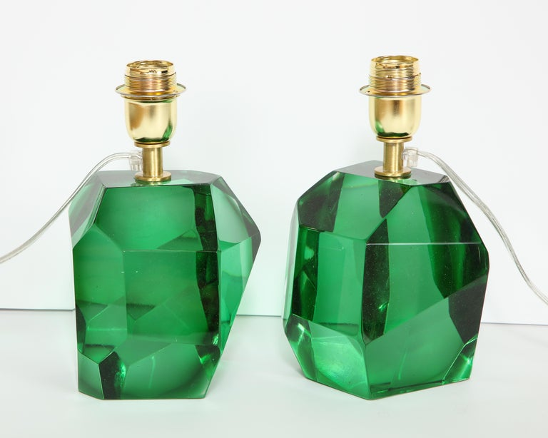 Contemporary Pair of Solid Emerald Green Jewel Murano Glass Lamps, Italy For Sale