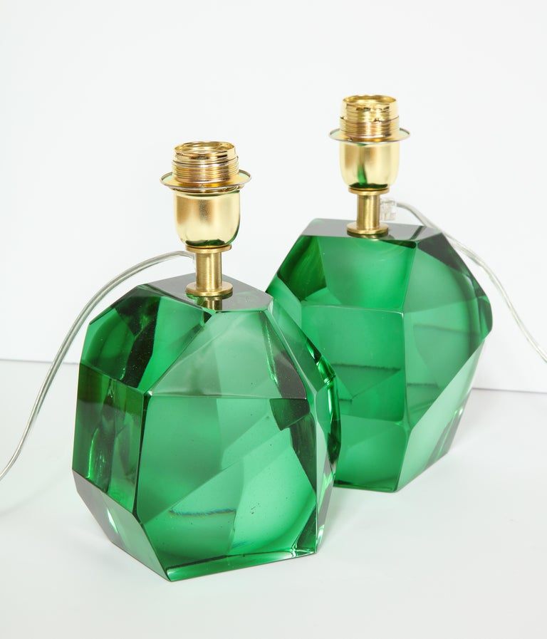 Pair of Solid Emerald Green Jewel Murano Glass Lamps, Italy For Sale 3