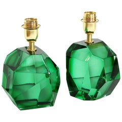Pair of Solid Emerald Green Jewel Murano Glass Lamps, Italy