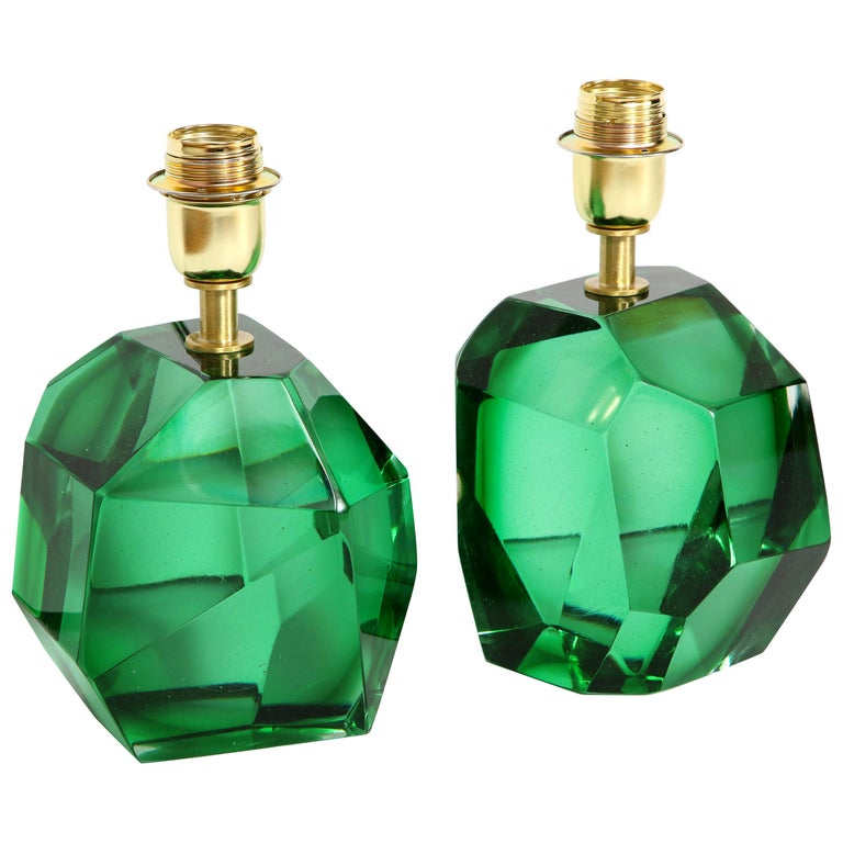 Pair of Solid Emerald Green Jewel Murano Glass Lamps, Italy For Sale