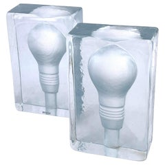 Pair of Solid Glass Bookends with Lightbulb Design