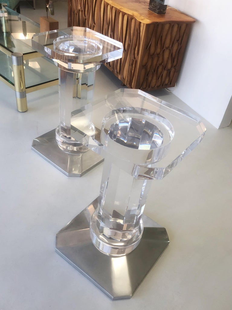 Pair of Solid Lucite Bases or Pedestals Dining Table Desk by Spectrum In Good Condition In Miami, FL