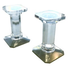 Pair of Solid Lucite Bases or Pedestals Dining Table Desk by Spectrum