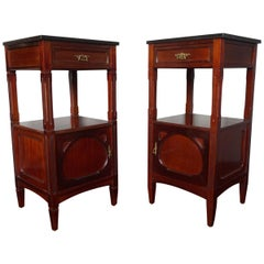 Pair of Solid Mahogany Dutch Arts & Crafts Bedside Cabinets with Marble Top 1900