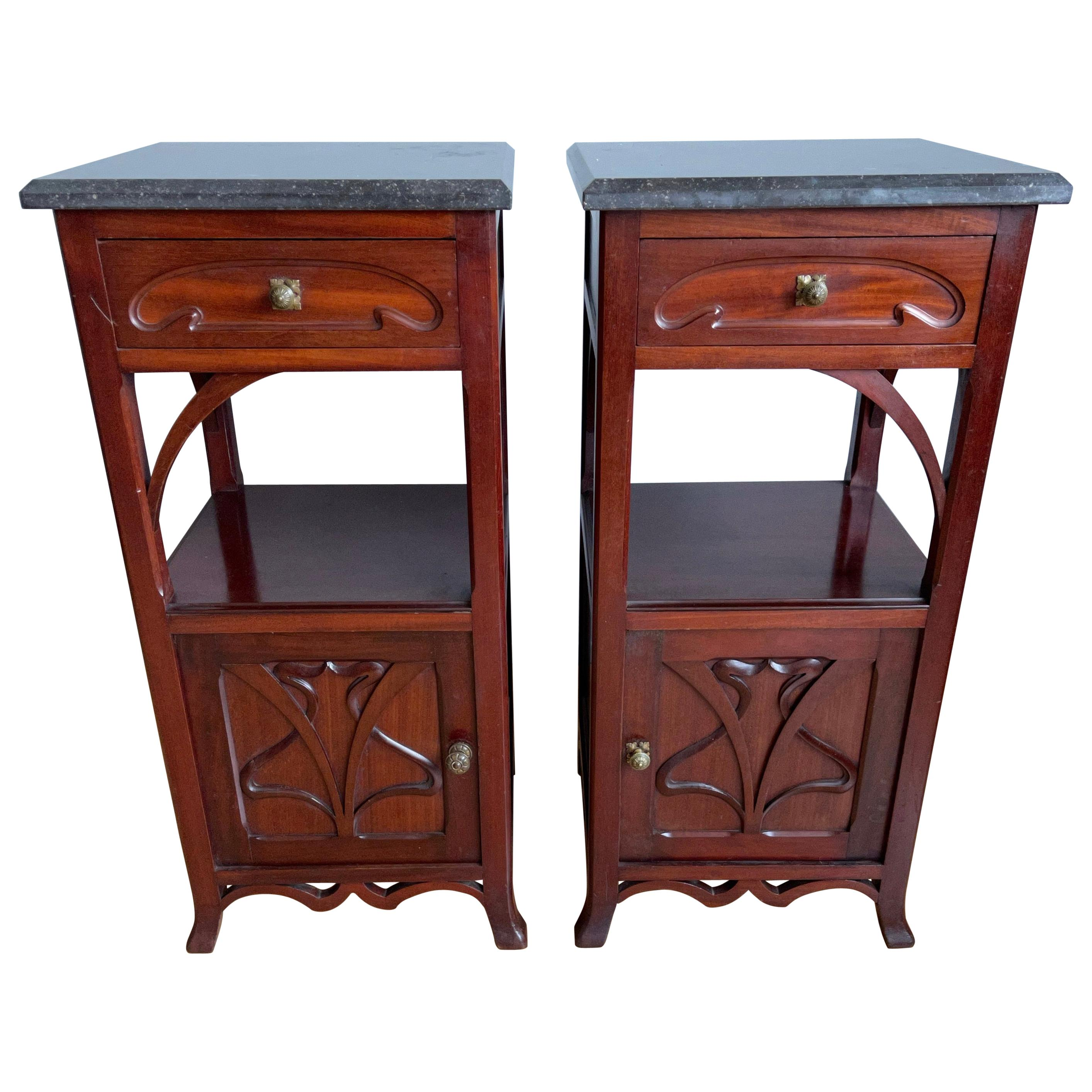 Pair of Solid Mahonie Wood Dutch Arts & Crafts Bedside Cabinets with Marble Top