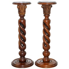 Pair of Solid Mahogany Twisted Column Corinthian Pillar Jardinière Plant Stands