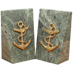 Pair of Solid Marble Bookends with Brass Anchor
